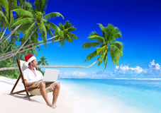 Working Beach Internet Holiday Outdoors Concept Stock Photography