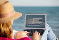 Working on the beach Royalty Free Stock Photography