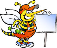 Working Bee Holding a Sign Royalty Free Stock Photography