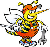 Working Bee Holding Wrench and Screw Driver. Hand-drawn Vector illustration of an Happy Working Bee Holding Wrench and Screw Driver Stock Image