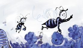 Working bees. Going to work vector illustration