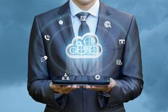 Working with big data cloud . Working with big data cloud on the tablet stock image