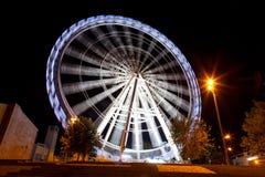 Working big wheel at night in Zaragoza Royalty Free Stock Image