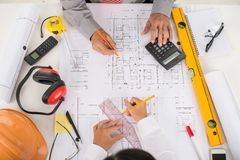 Working on blueprint Royalty Free Stock Images