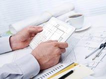 Working on blueprint Stock Image