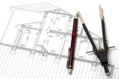 Working with blueprints. Pencil and compasses on a section plan Stock Photography