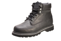 Working boot isolated on white. Black work boot on white background with Clipping Path Stock Images