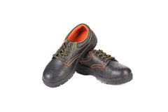 Working boots of black with orange line Royalty Free Stock Photos