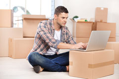Working in brand new house. Stock Photos