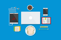 Working and Break Time Icons Flat Design Vector Illustration Element Icons Set Royalty Free Stock Photos