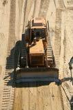 Working bulldozer. Yellow bulldozer on work area Royalty Free Stock Image