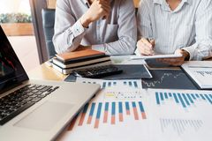 Working business man, team of broker or traders talking about forex on multiple computer screens of stock market invest trading. Financial graph charts data royalty free stock photo