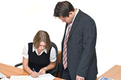 Working businessman and businesswoman Royalty Free Stock Images
