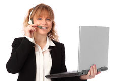Working businesswoman with laptop Royalty Free Stock Images