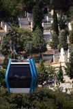 Working Cable Car. Cable cars working over cemetery which carry people between Pirre Lotti and Eyup shore in Istanbul, Turkey Royalty Free Stock Photo