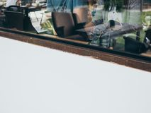 Working in cafe royalty free stock photo