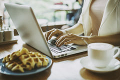 Working in a cafe Royalty Free Stock Image