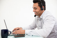 Working at a call center Royalty Free Stock Photos