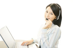 Working call center operator Stock Photo