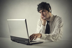 Working in a call center royalty free stock photo