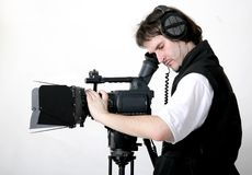Working cameraman. Cameraman work with stand high-definition camcorder with compendium Stock Photo