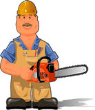 Working with a chainsaw. Illustration, a worker in overalls with a chainsaw Stock Photography
