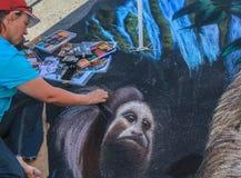 Working Chalk Artist Royalty Free Stock Photos