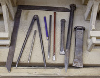 Working Chisels. Tools for working stone, chisels, crafts Royalty Free Stock Photos