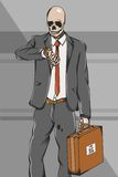 Working class skull employee on suit go to work stock illustration