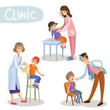 Working in clinic pediatrician cartoon vector. Set of working pediatrician doctors taking patients, listening to stethoscope, checking throat, making vaccine Royalty Free Stock Photo