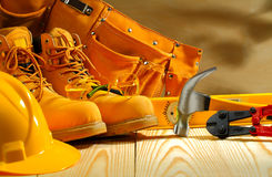 Working clothing and tools Royalty Free Stock Photography