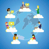 Working in the cloud. People from all around the world working and connecting through cloud technology Stock Photo