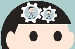 Working cogwheel in head businessman Stock Image