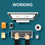 Working with computer concept illustration. Working illustration. Working concept. Flat design illustration concepts for working, study hard, management, career Royalty Free Stock Image
