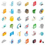 Working computer icons set, isometric style Royalty Free Stock Photos