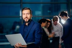 Working on computer laptop online, businessman, person using wifi internet. Business travel, working on computer laptop online, businessman, person using wifi Royalty Free Stock Image
