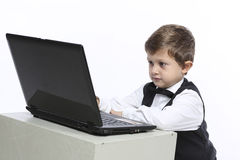 Working on computer problem Stock Image