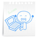 Working computer Success cartoon_on paper Note. Hand draw working computer Success cartoon_on paper Note Stock Photography