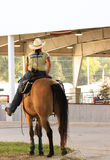 Working Cowgirl. A cowgirl works as livestock control at the state fair royalty free stock image