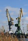 Working cranes. In port Saint Petersburg, Russia Stock Photography