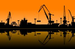Working cranes in sea port. For cargo industry design Stock Images