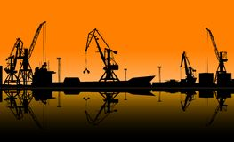 Working cranes unload cargo in seaport. Vector illustration for industrial design Royalty Free Stock Image