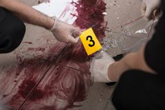 Working at the crime scene. Police officers are working at the crime scene Royalty Free Stock Photo