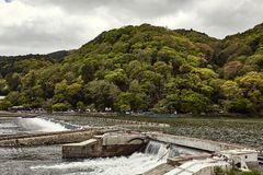 Working dam on the river in Japan stock photography
