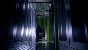 Working Data Center Full of Server Racks.