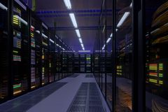 Working data center interior.