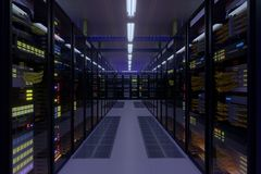 Working data center interior. Concept of hosting, computer cluster, supercomputer, virtual servers, digital cloud or mining crypto currency farm Stock Photos