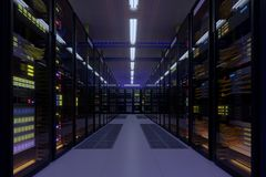 Working data center interior. Concept of hosting, computer cluster, supercomputer, virtual servers, digital cloud or mining crypto currency farm Stock Photo
