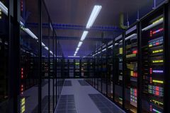 Working data center interior. Concept of hosting, computer cluster, supercomputer, virtual servers, digital cloud or mining crypto currency farm Royalty Free Stock Photo