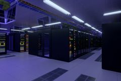 Working data center interior. Concept of hosting, computer cluster, supercomputer, virtual servers, digital cloud or mining crypto currency farm Stock Photography